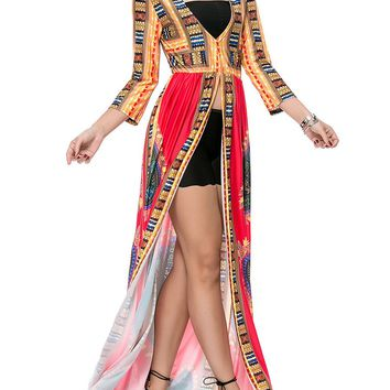 Streetstyle  Casual High Slit Deep V-Neck Maxi Dress In Tribal Printed