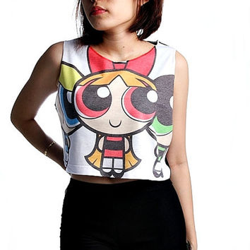 Powerpuff Girl Shirt Crop Top Tank Top Women Shirts Size S M L