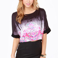 Goulding Girl Black Neon Print Crop Top