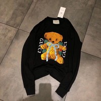 """Gucci"" Women Cute Cartoon Bow Bear Cub Embroidery Long Sleeve Sweater Casual Tops"