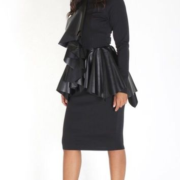 Black Body Con Faux Leather Layered Peplum Dress