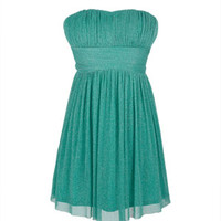 Draped Strapless Party - Emerald