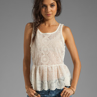 AG Adriano Goldschmied Scarlett Sleeveless Peplum Top in Cream