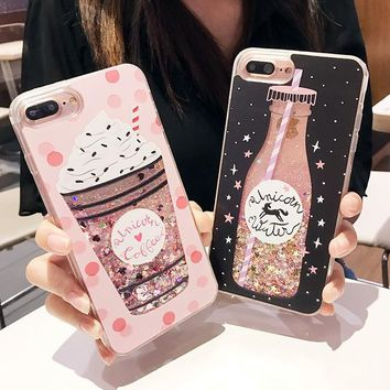 Luxury Cute Drink Bottle Ice Cream Quicksand Dynamic Liquid Glitter Phone Case For iPhone 6 6S 7 8 Plus Cases Silicone Coque