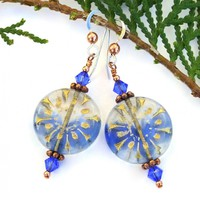 Blue and Gold Flower Earrings, Sapphire Swarovski Crystals Copper Handmade Dangle Jewelry