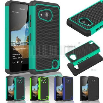 ESBONHS Hybrid Rugged Heavy Duty Impact Protective Case Silicone Hard Shockproof Cover for Nokia Microsoft Lumia 550 With/Without Films
