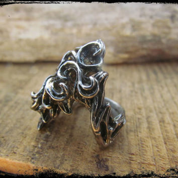 Silver Abstract Artisan Ring~Fiery Detail~Statement Ring~Unique Style & Design~Mdogstudios~