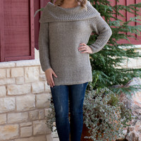 Lazy Day Comfy Cowl Neck Sweater ~ Light Gray ~ Sizes 4-10