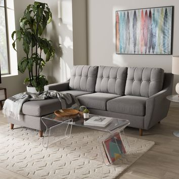 Baxton Studio Mckenzie Mid-Century Grey Fabric Upholstered Button-Tufted 2-Piece Sectional Sofa Set of 1