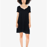 Crepe Slit Back V Dress | American Apparel