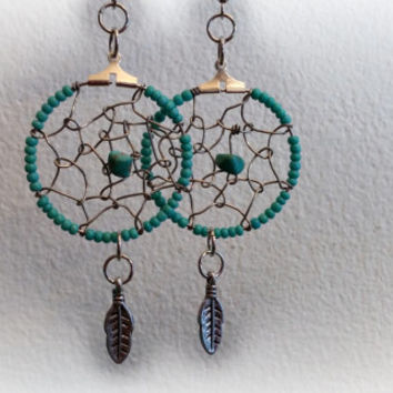 Dream Catcher Earrings, Turquoise And Silver, Wire Wrap, Dreamcatcher Earring, Seed Bead Earrings, Silver Feather, Boho, ELEMENTS Collection