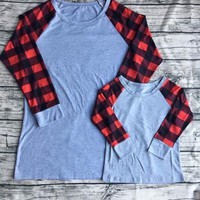 Preorder -Red/Black kids and adult Buffalo plaid Longsleeve shirts