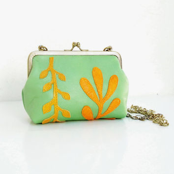 Ferns Leather Pouch Clutch Green and orange Applique