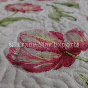 Printed Baby Quilt, Glazed Cotton Comforter, Kids Designer Bedding, Size 110 x 140 Cms, Floral Pattern Kids Blanket