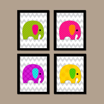 Bold JUNGLE Safari Animal Elephant Theme Boy Girl Grey Chevron Pattern Set of 4 Prints Wall Baby Decor ART Child NURSERY Bedroom