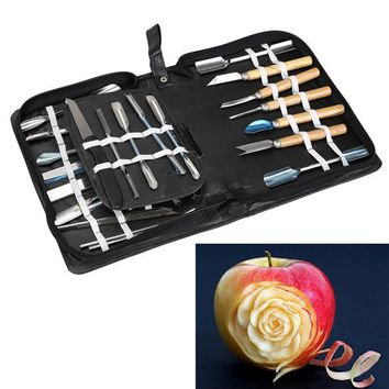 46 Pcs Culinary Carving Tool Stainless Steel Set Fruit Vegetable Garnishing Slicing Cutting Slicing Kitchen Tool Set