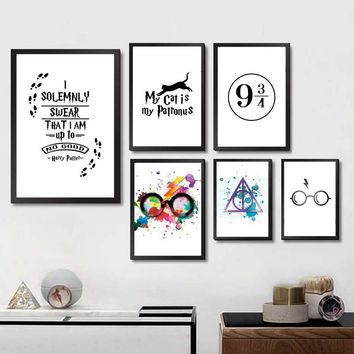 Boys and Girls Room Decor Harry Potter Glasses Cross Posters Prints Letters Canvas Painting Wall Art Picture For Living Room