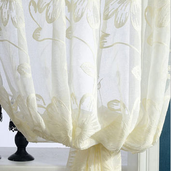 Modern Fresh Embroidered Voile Curtains Window Treatments Screen Yarn for Bedroom Balcony divider Curtains Tulle wp003 #15