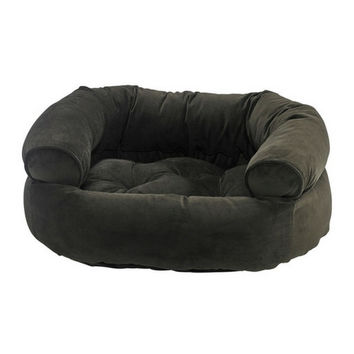 MicroVelvet Double Donut Bolstered Bed — Hickory
