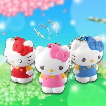 "Say "" I love you"" Hello Kitty LED Keychain with Sound,Key Ring Bag Charm Pendant Creative Flashlight Toy,gift for lovers"