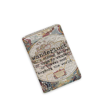 Wanderlust -Travel Gifts-Vintage Map-World Map - Passport Cover - Passport Holder - Travel Map Passport - by HeartOnMyFingers - APP-PPC-024