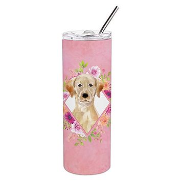 Yellow Lab Pink Flowers Double Walled Stainless Steel 20 oz Skinny Tumbler CK4227TBL20