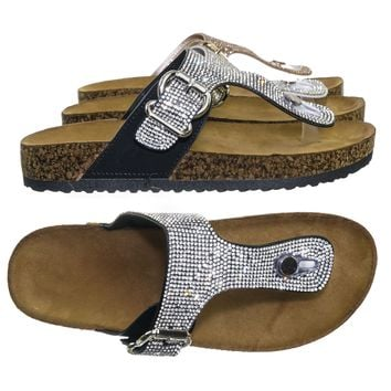 Berk04 Rhinestone Molded Footbed Slipper - Women's Cork Slide In Crystal Shoe