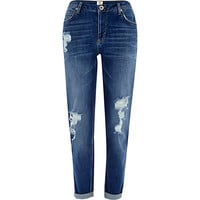 River Island Womens Dark wash ripped Ashley slim boyfriend jeans