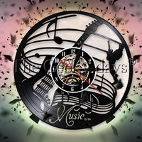 Rock N Roll Guitar Music Instrument Vinyl Record Wall Clock Modern Design Music Is The Life Of Soul Wall Clock Music Notes Decor