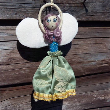 Fairy doll, hanging ooak angel doll, made of felt and vintage fabric, wool doll with white wings, embroidered dress