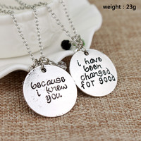 "The Musical Wicked Necklace ""Because I knew you"" ""I have been Changed for Good"" Letter Logo A Pair Lovers Necklaces"