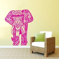 Wall Decal Vinyl Sticker Decals Art Home Decor Murals Indian Elephant Tribal Floral Patterns Om Sign Ganesh Buddha Lotus Yoga Art Decoration Bedroom Dorm Decals AN89