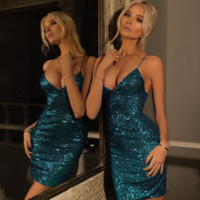 Hot sale sexy straps sequins show thin  dress Blue
