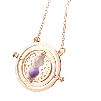 1Pcs Harry Potter Hermione Granger Rotating Time Turner Necklace Gold Hourglass Pendant Necklace-Christmas gifts