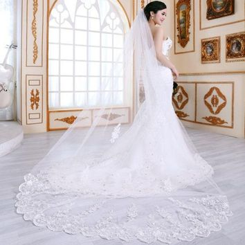PEAPIX3 good quality double layer soft new long lace veil bride married wedding cute flower glitter stylish white lace   dress accessories / 2.8m long lace veil for wedding = 1929792580