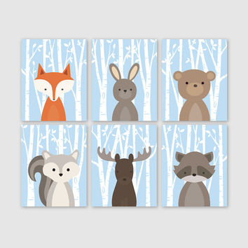 Woodland Nursery Wall Art, Woodland Wall Decor, Birch Tree Forest Animals, Forest Friends Set of of 6 Fox Rabbit Bear Squirrel Moose Raccoon