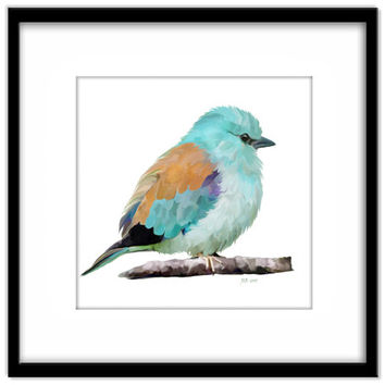 Colourful Bird Instant Download, Blue Bird, European Roller Printable Art