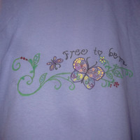 Periwinkle Light Purple Ladies Tshirt Free to Be and Butterflies Hand Painted onto Tshirt Easter Gift Size Medium Spring