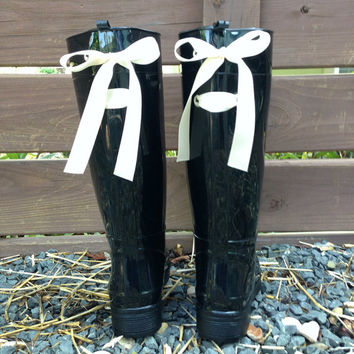Black Gloss Rain Boots with Custom Bow