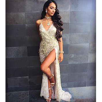 Runway Maxi Spaghetti Strap Luxurious Sequined Slit Wrap Party Dress