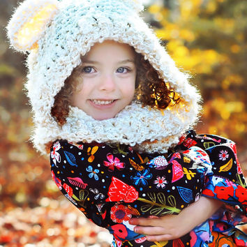Childs Hooded Animal Cowl, Snow Bear Hood, Cowl, Animal Hood, Chunky Knit Super Warm Winter Hood,Crochet Hooded Cowl Neck, Toddler to Adult