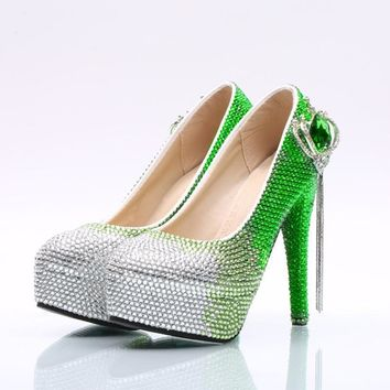 Gradient Crystal Rhinestone Platform Super Stiletto High Heels Wedding Shoes