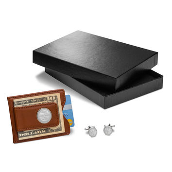Personalized Brown Leather Wallet & Monogrammed Cufflinks Gift Set