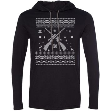 Ugly Sweater - Hunting Rifle Christmas 987 Anvil LS T-Shirt Hoodie