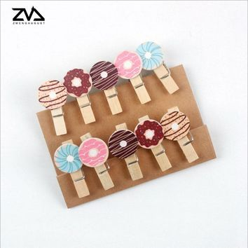 10Pcs/lots Kawaii Donuts Wooden Clip Photo Paper Postcard Craft DIY decoration Clips Office Binding Supplies with Hemp Rope