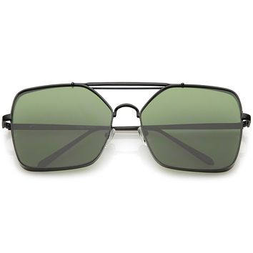 Retro Modern Square Reinforced Metal Flat Lens Aviator Sunglasses C161