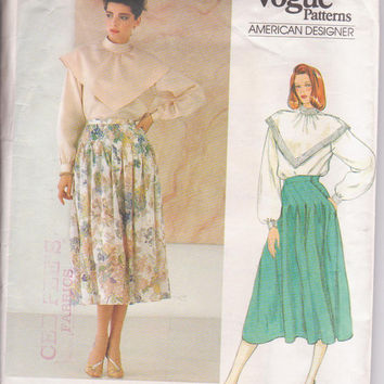 Vintage 1980s pattern American Designer Albert Nipon full skirt and long sleeved blouse with wide collar misses size 14 Vogue 1120 UNCUT