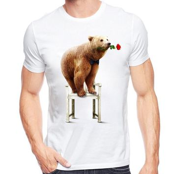 Cute Bear Holding Rose - Grizzly Bear T-Shirt