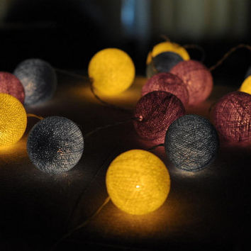 20 x Cotton ball yellow purple blue string light lantern patio wedding light hanging decoration