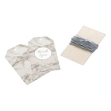 Faux Marble Alabaster Taupe Tan Modern Thank You Gift Tags